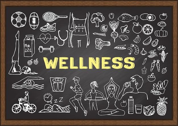 Wellness elementen op schoolbord