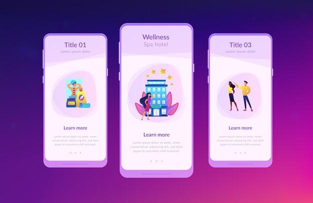 Wellness en spa hotel app interface sjabloon.