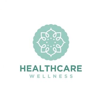 Wellness-logo met een eenvoudig en strak modern design met elegante lijnkunststijl voor yogamassage of spa- en schoonheidszaken.