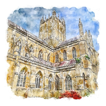 Wells cathedral engeland aquarel schets hand getekende illustratie