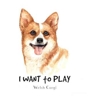 Welsh corgi-hondwaterverf voor druk.