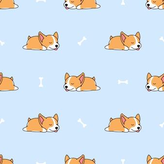 Welsh corgi puppy slapen met bot naadloze patroon