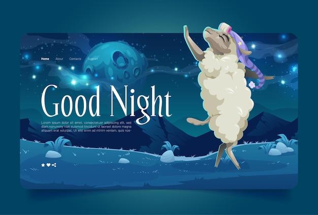Welterusten cartoon bestemmingspagina lam draag slaapmuts dansend op weide onder sterrenhemel met volle ...
