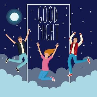 Welterusten en jonge mensen cartoons