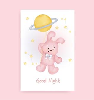 Welterusten kaart met schattig konijn op de maan Premium Vector