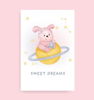 Welterusten kaart met schattig konijn op de maan