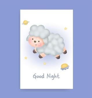 Welterusten kaart met schattige schapen Premium Vector