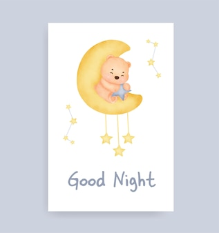 Welterusten kaart met schattige teddybeer op de maan Premium Vector