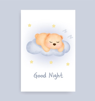 Welterusten kaart met schattige teddybeer op de maan