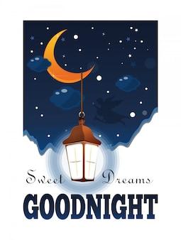 Welterusten poster. zoete dromen. maan en sterren in de wolken. gloeiende lantaarn in de nachtelijke hemel. illustratie