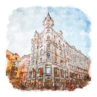 Wenen oostenrijk aquarel schets hand getekende illustratie