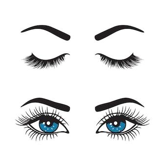 Wenkbrauwen met ogen logo set.