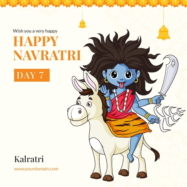 Wens je een heel gelukkig navratri-festival met godin kalratri-illustratiebannerontwerp