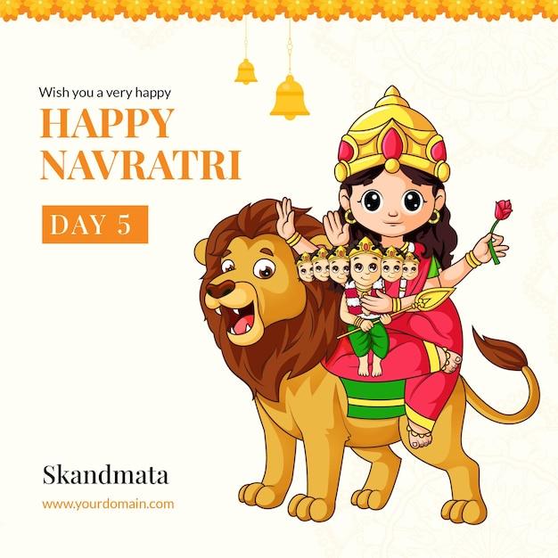 Wens je een heel gelukkig navratri-festival met het ontwerp van de godin skandmata-illustratiebanner