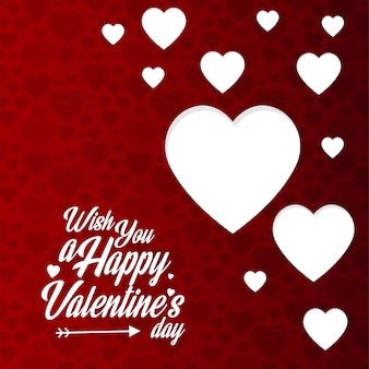 Wens u een gelukkige valentijnsdag met rode patroonachtergrond