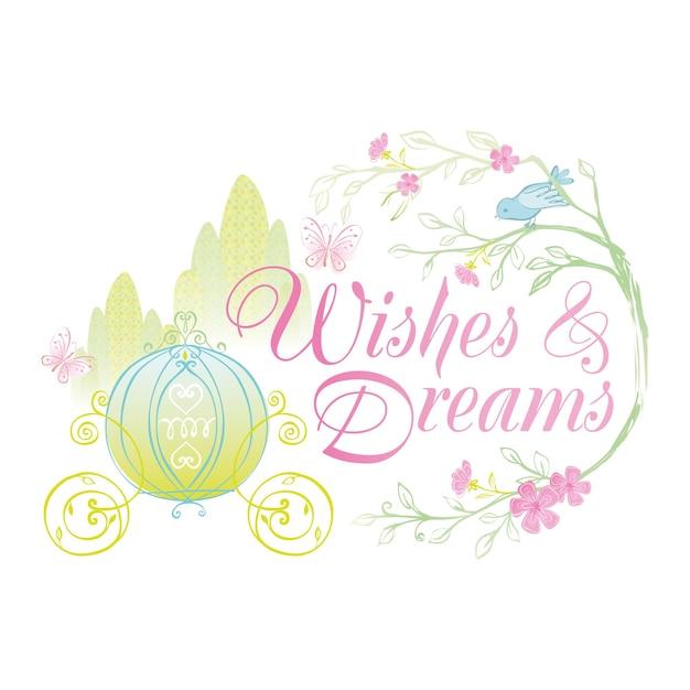 Wensen en dromen badge illustratie met prinses koets en sprookjesachtig ontwerp