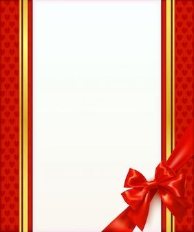 Wenskaart achtergrond met rode boog en lint. uitnodiging. vector illustratie