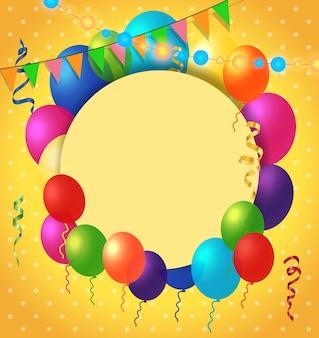 Wenskaart, ballonnen, puntpatroon