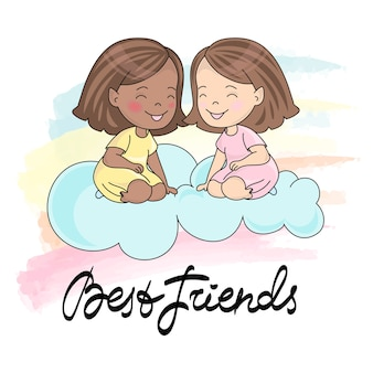 Wenskaart best friends card kleur vectorillustratie voor scrapbooking en digitale pri