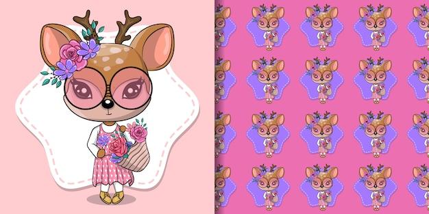 Wenskaart cute baby deer met bloemen en harten op een roze achtergrond