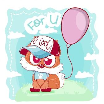 Wenskaart cute cartoon fox