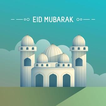 Wenskaart eid mubarak ramadan concept met moskee in de ochtend