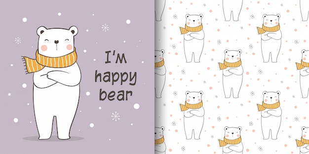 Wenskaart en naadloze patroon ijsbeer