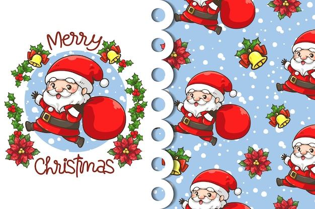 Wenskaart en patroon kerstman draagtas