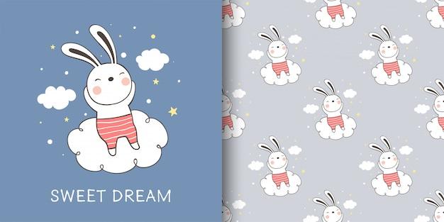 Wenskaart en patroon van konijn slapen