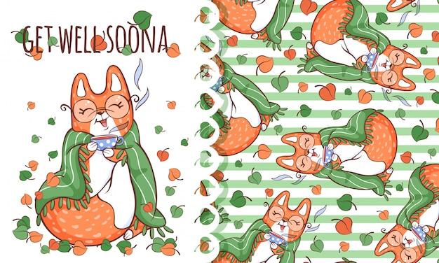 Wenskaart en patroon van schattige vos in een plaid met een kopje thee.