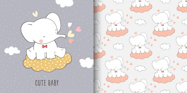 Wenskaart en print patroon van olifant
