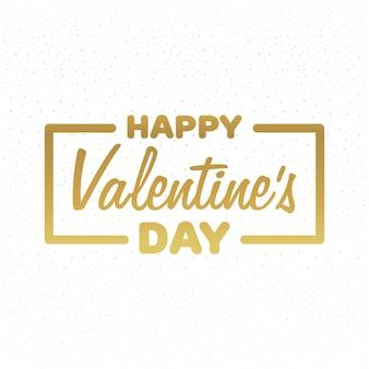 Wenskaart happy valentine's day. gouden belettering vectorillustratie.