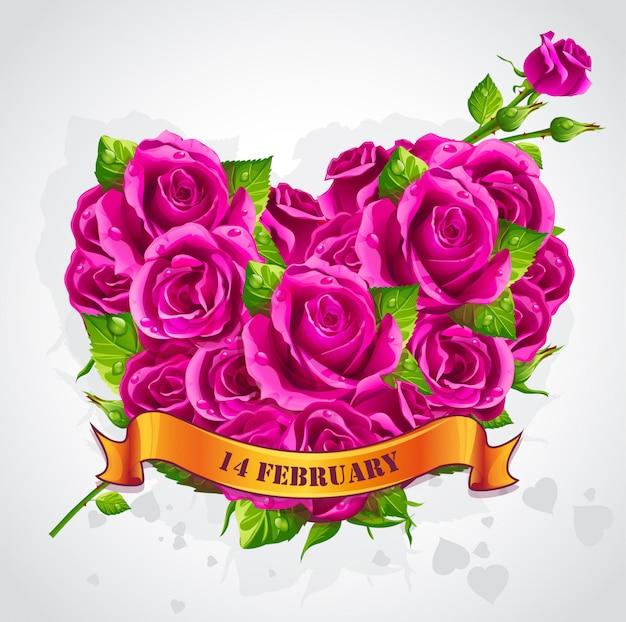 Wenskaart happy valentines day met rozen