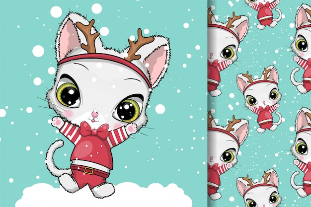 Wenskaart kerstmis katten