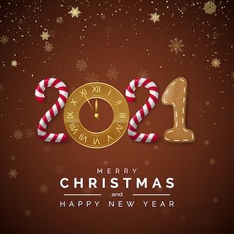 Wenskaart met belettering. candy en golden clock, new year boomtak en christmas gingerbread.