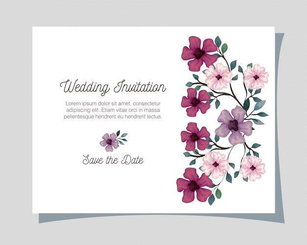 Wenskaart met bloemen lila, roze en paarse kleur, bruiloft uitnodiging met bloemen met takken en bladeren decoratie illustratie ontwerp
