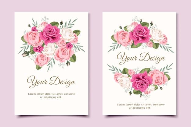 Wenskaart met bloemenroos kan worden gebruikt als uitnodigingskaart voor bruiloft, verjaardag en andere vakantie- en zomerachtergrond.