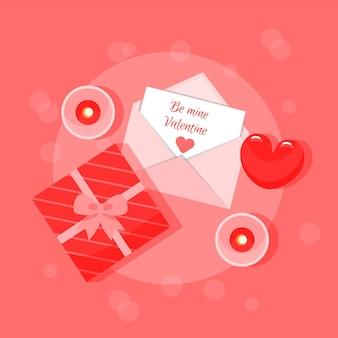 Wenskaart met cartoon vlakke stijl in rode kleuren met geschenkdoos, envelop en hart. aanplakbiljet.