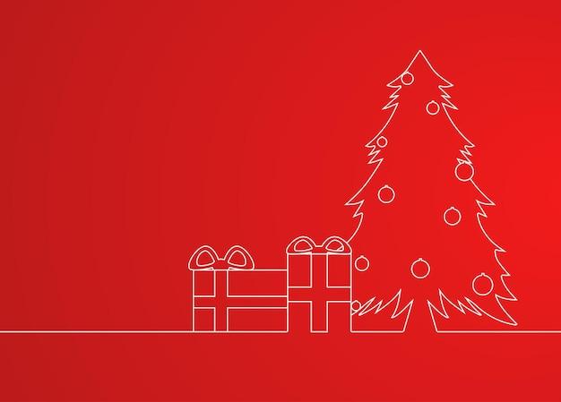 Wenskaart met een eenvoudig lineair patroon kerstboom en geschenken en plaats voor tekst