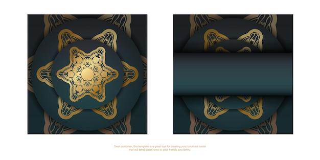 Wenskaart met een gradiënt van groene kleur met een gouden ornamentmandala voor uw felicitaties.