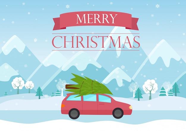 Wenskaart met een man draagt een kerstboom op autodak in de buurt van prachtige bergen.