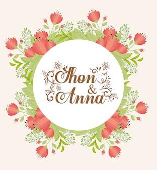 Wenskaart met frame circulaire van bloemen rode kleur, bruiloft uitnodiging met bloemen rode kleur decoratie