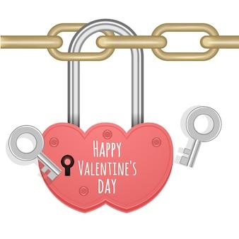 Wenskaart met gesloten hartslot hangend aan ketting geïsoleerd op wit voor valentijnsdag