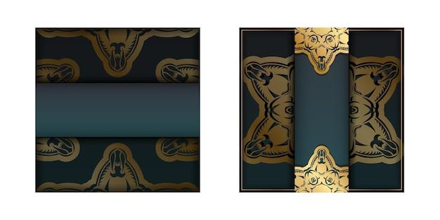 Wenskaart met groene kleurverloop met mandala gouden patroon voor uw merk.