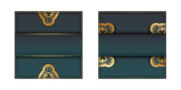 Wenskaart met groene kleurverloop met mandala gouden patroon voorbereid om af te drukken.
