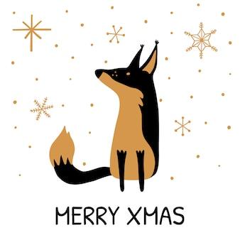 Wenskaart met hand getrokken schattige fox.