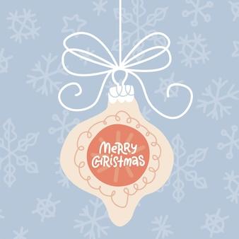 Wenskaart met hangende kerstboom baule en citeer vrolijk kerstfeest erop pastel platte vector illust...