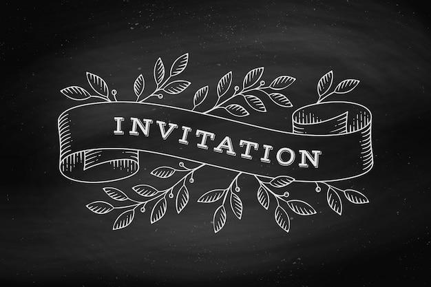 Wenskaart met inscriptie uitnodiging