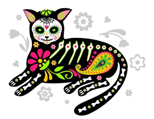 Wenskaart met kattenskelet met bloemen kleurrijke katten dag van de doden dia de los muertos