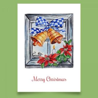 Wenskaart met kerst raamdecoratie